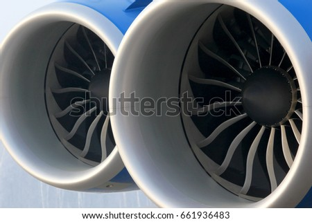 Two modern jet engines close up view.