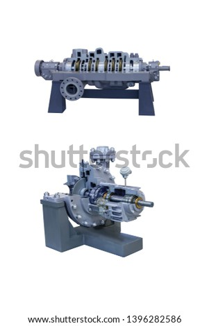 Two modern pumps for pumping liquefied gas close up. Pump cross section