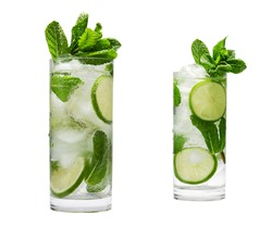 two Mojito summer refreshing cocktail with ice and mint