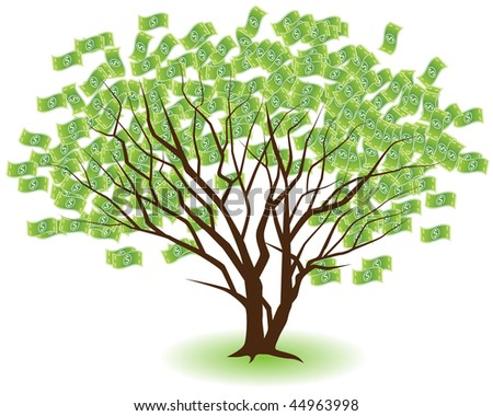 Two money trees growing together isolated on a white background.