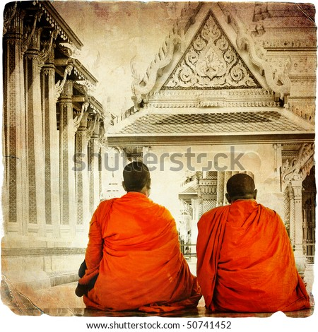 two monks in thai temple  ...