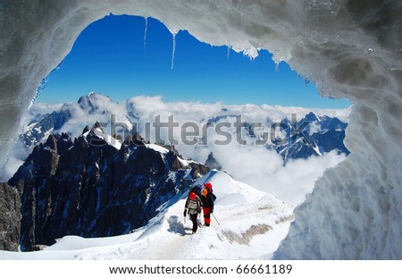 Two mountaineers on a French glacier (Mont Blanc Massif, French Alps)