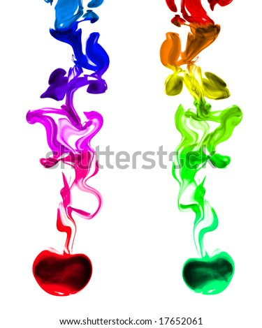 Two multi-colored ink splashes flowing down the center of the image. Isolated on white.