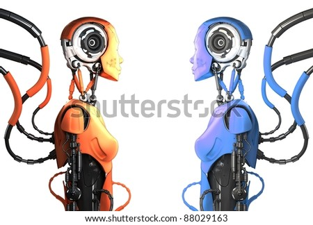 Two multicolored artistic cyborg woman in profile