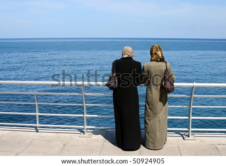 two muslim women in Beirut, Lebanon
