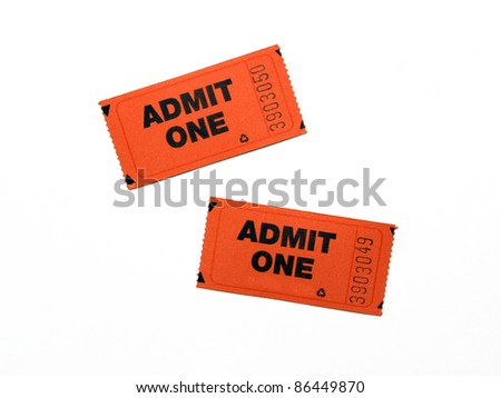 Two New Admit One Tickets isolated on white background