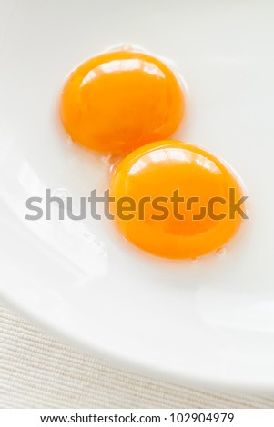 Two nice yolks ready to be whisk.