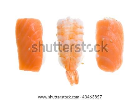 Two Nigiri Sushi salmon and Nigiri Sushi king prawn. Isolated on white