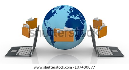 two notebooks and a world globe with several folders around it, computer network and sharing data (3d render)