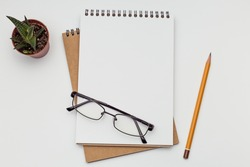 Two notebooks lying on a white table With glasses and pencil, office concept