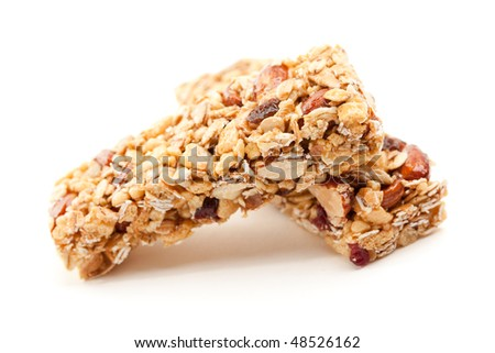 Two Nutritious Granola Bars Isolated on White with narrow Depth of Field.