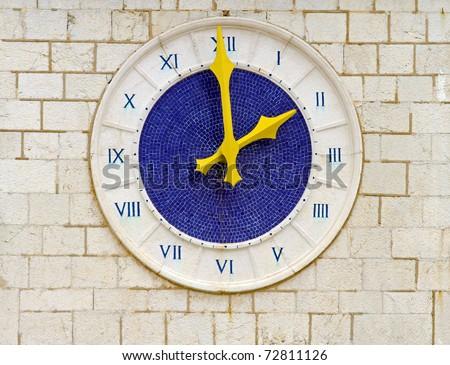Two o clock at old blue Roman clock