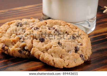 Two oatmeal raisin cookies with a glass of milk
