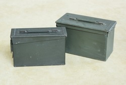 two of old and dusty bullet box ( ammo crate )