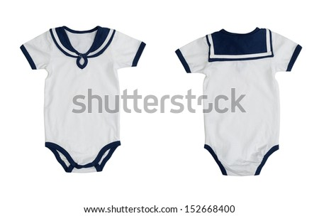 Two of the form (front and back) baby clothes stylized sailor. Isolate on white background. Image is made up of two frames.