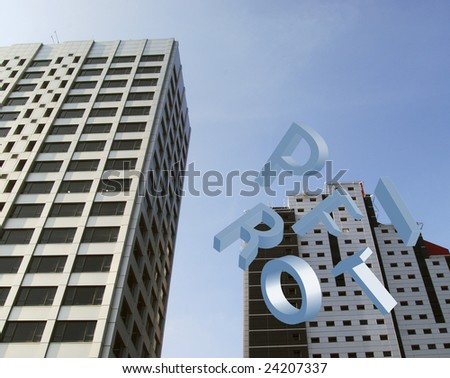 Two office blocks with falling letters spelling profit