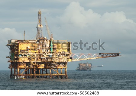 Two offshore oil rigs.  Coast of Brazil