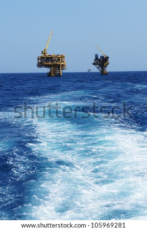 Two Offshore Production Platforms For Oil and Gas Development in The Ocean