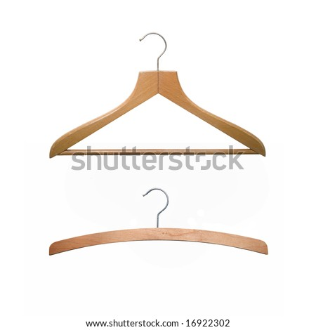 two old-fashioned hangers isolated on white