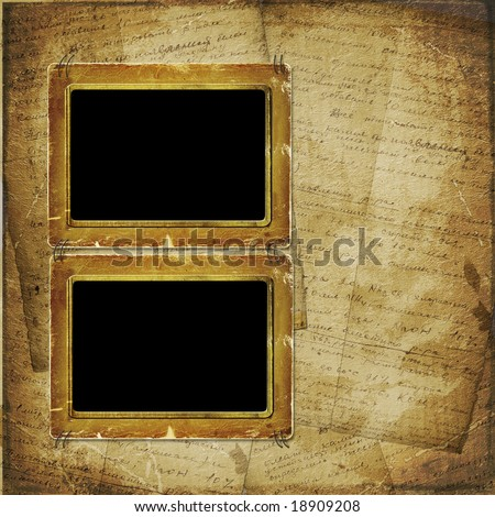 Two Old photo frame on the  abstract background with historical manuscript
