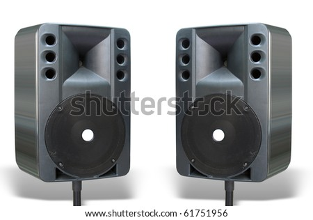 two old powerful concerto audio speakers isolated on white background