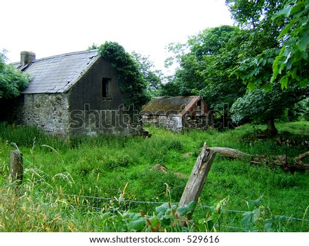 Two old sheds on the Ireland countryside