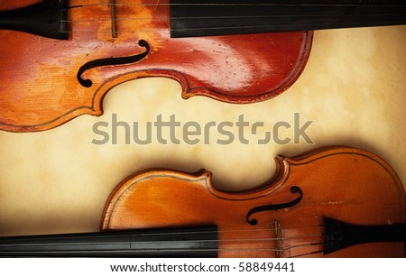 two old violin detail