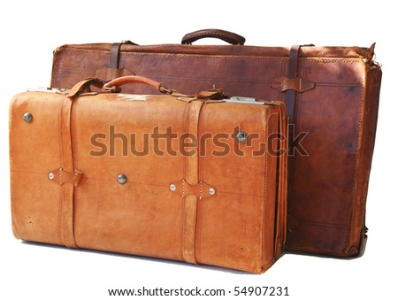 Two old weathered leather suitcases