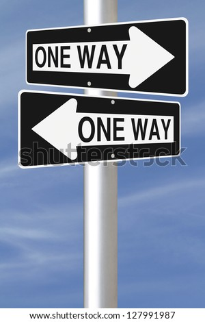 Two one ways street signs pointing at different directions