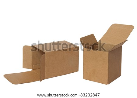two open boxes isolated on white
