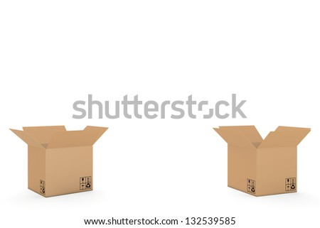 two open cardboard boxes