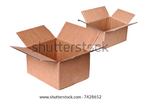 Two Open Shipping Boxes Isolated