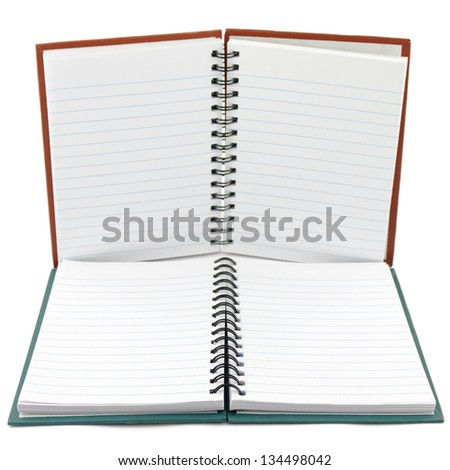 two opened notebooks isolated on white