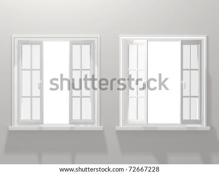 Two opened windows