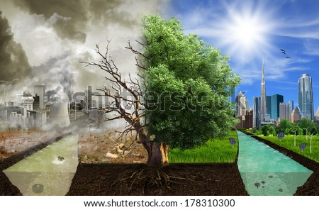 Two options / sides , eco concept, eco digital art #178310300