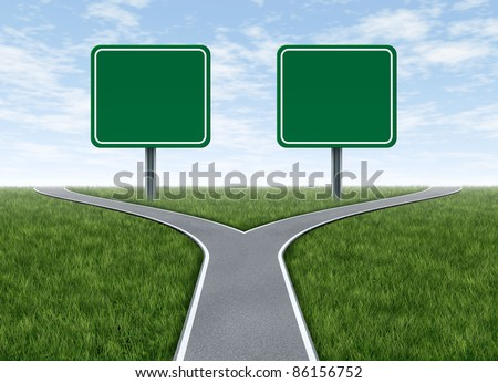 Two options with blank road signs facing a challenging decision symbol represented by a forked road for turning in the direction that is chosen after facing the difficult dilemma.