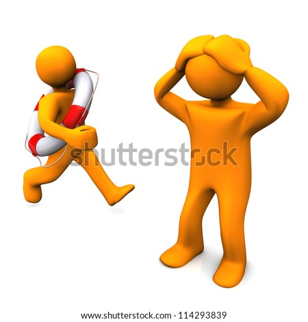 Two orange cartoons with a lifebelt. White background.