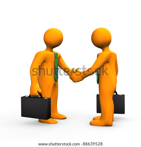 Two orange cartoons with black briefcase and a handshake.