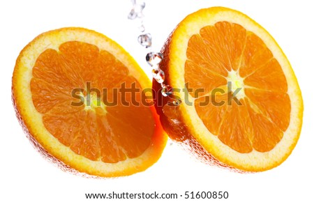 Two Orange halves splashed with clear water
