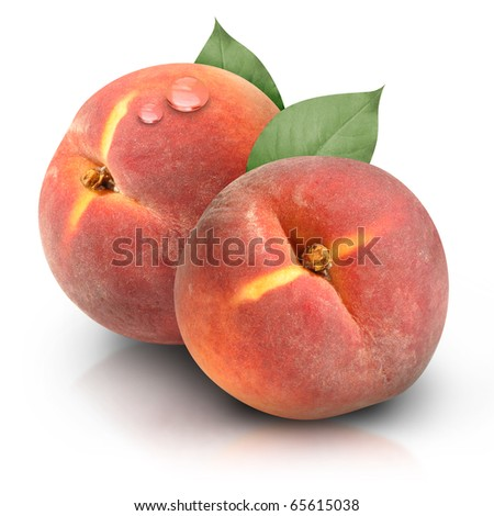 Two orange red peaches are isolated on a white background with a moisture water drop. Use it for a health or nutrition concept.