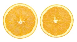 Two orange slice isolated on white with clipping path
