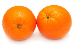 Two oranges isolated on white background