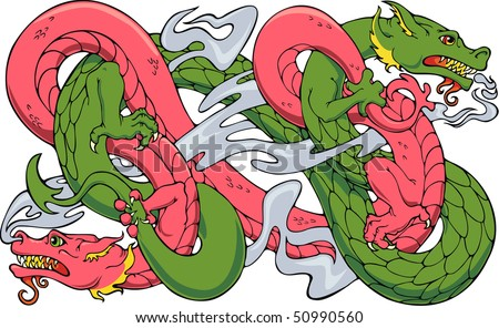 Two Oriental dragons wrestling, or dancing