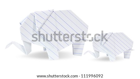 two origami elephants white recycle paper mother and son