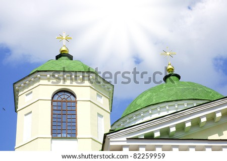 Two orthodox crosses over the sky