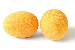 Two oval yellow ripe melons on a white background