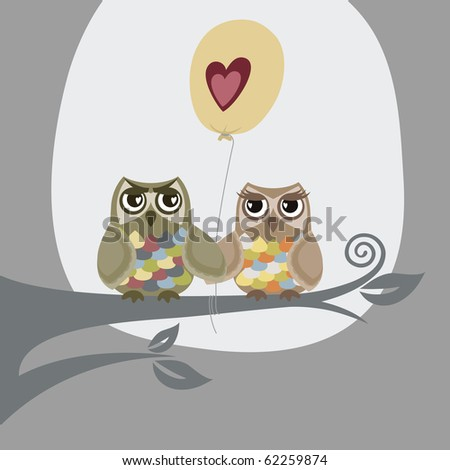 Owls In Love. Two owls and love balloon