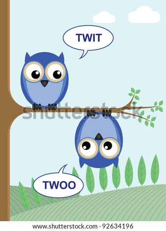 Two owls calling twit twoo to each other