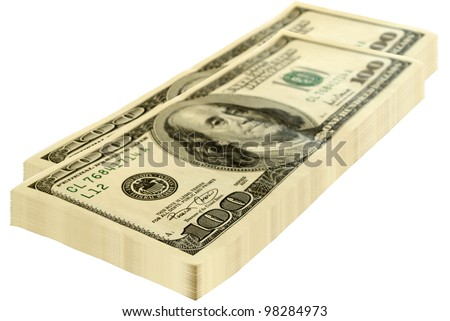 Two packs of dollars isolated on a white background.