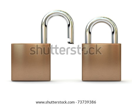 Two padlocks in open and closed positions. Security concept. High quality 3D render.